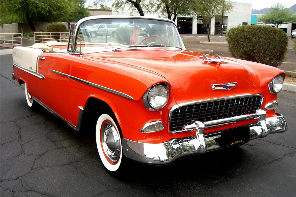 1955 CHEVROLET BEL AIR CONVERTIBLE - Front 3/4 - 138759