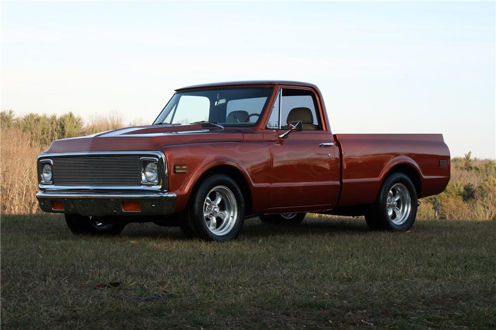 1970 CHEVROLET C-10 CUSTOM FLEETSIDE SHORTBED PICKUP - Front 3/4 - 139600