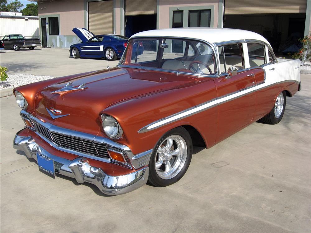 1956 CHEVROLET BEL AIR 4 DOOR CUSTOM SEDAN - Front 3/4 - 151593
