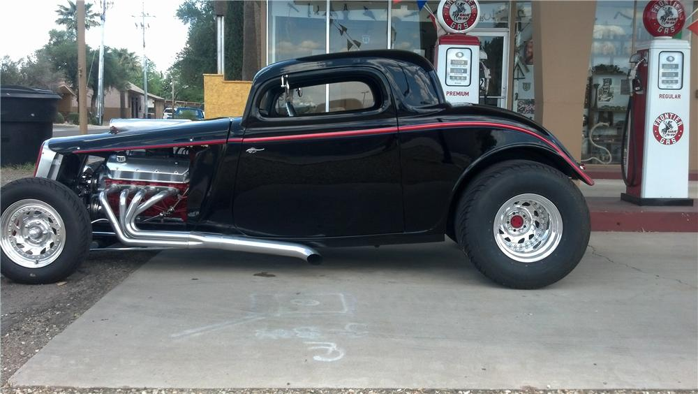 1933 FORD 3 WINDOW CUSTOM COUPE - Side Profile - 154020