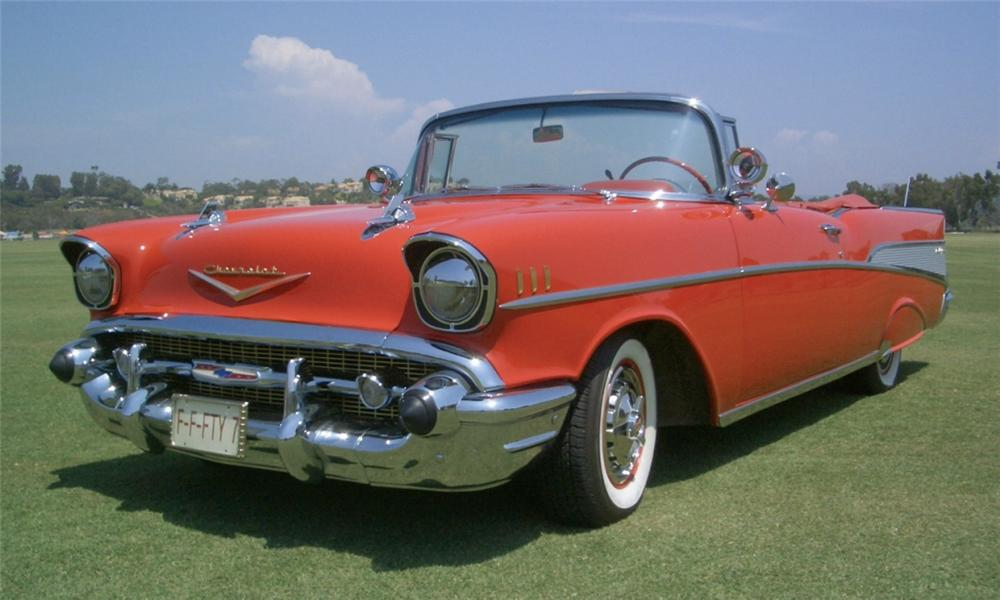 1957 CHEVROLET BEL AIR CONVERTIBLE - Front 3/4 - 15404
