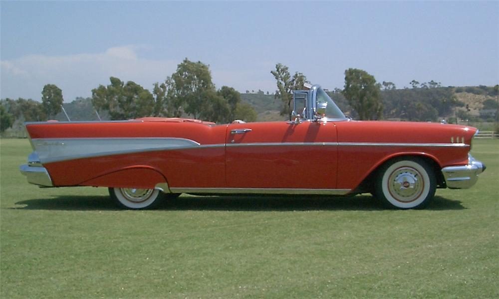 1957 CHEVROLET BEL AIR CONVERTIBLE - Side Profile - 15404