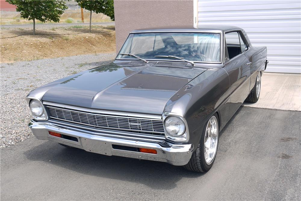 1966 CHEVROLET CHEVY II NOVA CUSTOM 2 DOOR COUPE - Front 3/4 - 154236