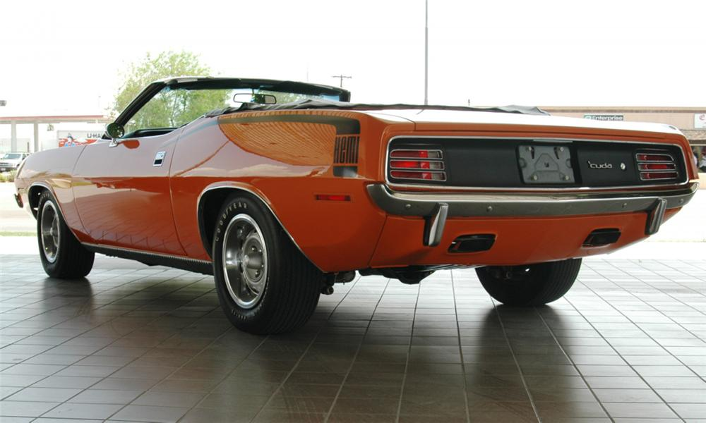 1970 PLYMOUTH HEMI CUDA 2 DOOR CONVERTIBLE - Rear 3/4 - 15652