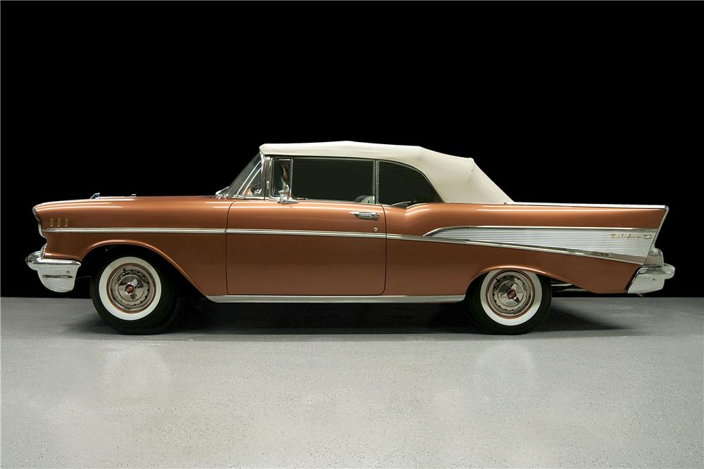 1957 CHEVROLET BEL AIR CONVERTIBLE - Side Profile - 157356