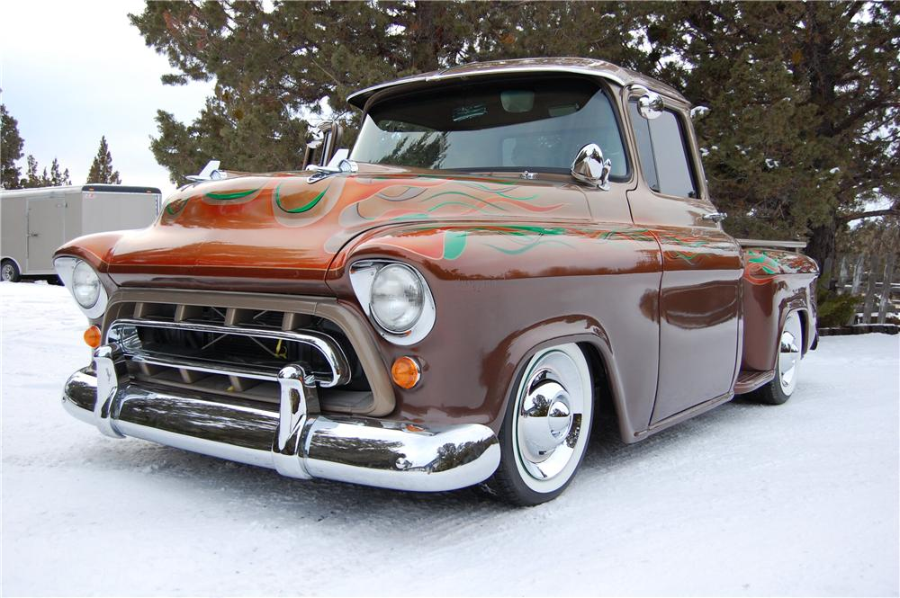 1957 CHEVROLET 3100 CUSTOM PICKUP - Front 3/4 - 157542