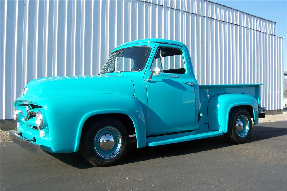 1955 FORD F-100 CUSTOM PICKUP - Front 3/4 - 157701