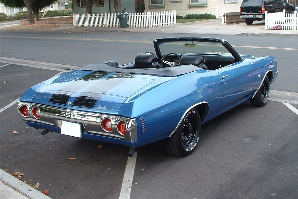 1972 CHEVROLET CHEVELLE MALIBU CUSTOM CONVERTIBLE - Rear 3/4 - 157890