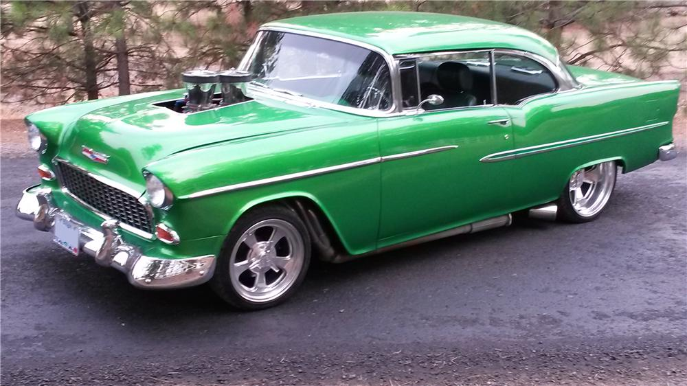 1955 CHEVROLET BEL AIR CUSTOM 2 DOOR HARDTOP - Front 3/4 - 157909