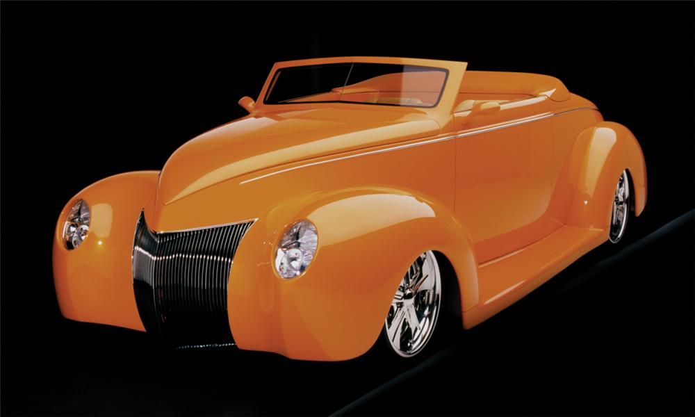 "1939 FORD DELUXE CUSTOM CONVERTIBLE ""ORANGE CRUSH - Front 3/4 - 15801"