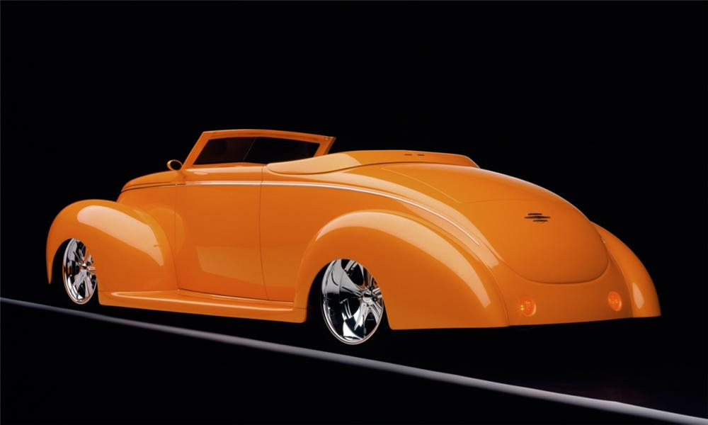"1939 FORD DELUXE CUSTOM CONVERTIBLE ""ORANGE CRUSH - Rear 3/4 - 15801"