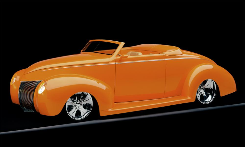 "1939 FORD DELUXE CUSTOM CONVERTIBLE ""ORANGE CRUSH - Side Profile - 15801"