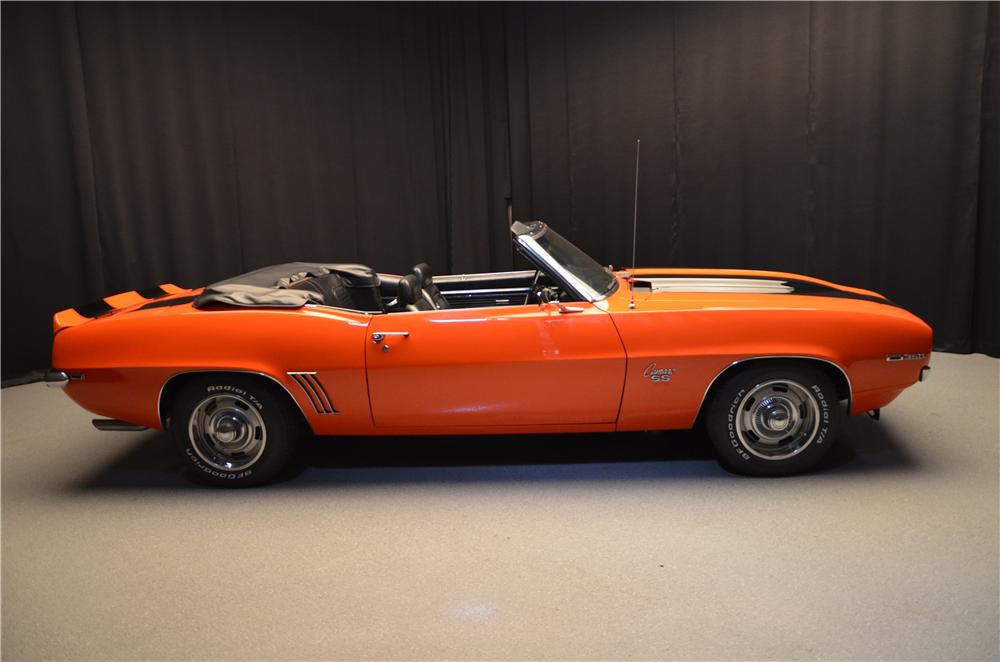 1969 CHEVROLET CAMARO CONVERTIBLE - Side Profile - 158404