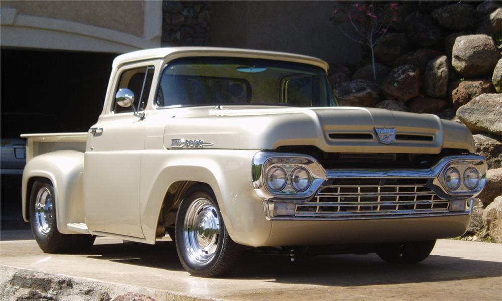 1960 FORD F-100 STEP-SIDE CUSTOM PICKUP - Front 3/4 - 15843