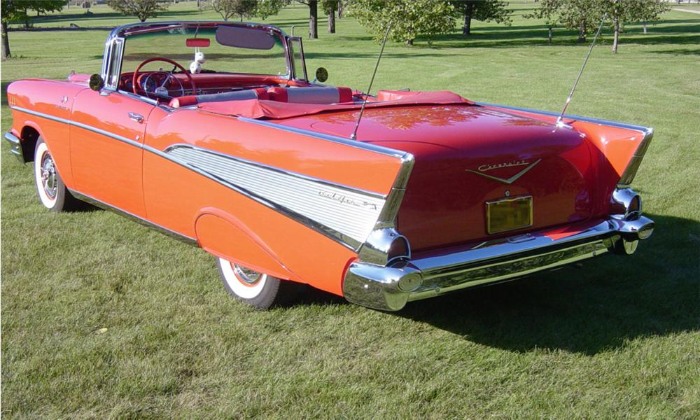 1957 CHEVROLET BEL AIR FUEL INJECTED CONVERTIBLE - Rear 3/4 - 15966