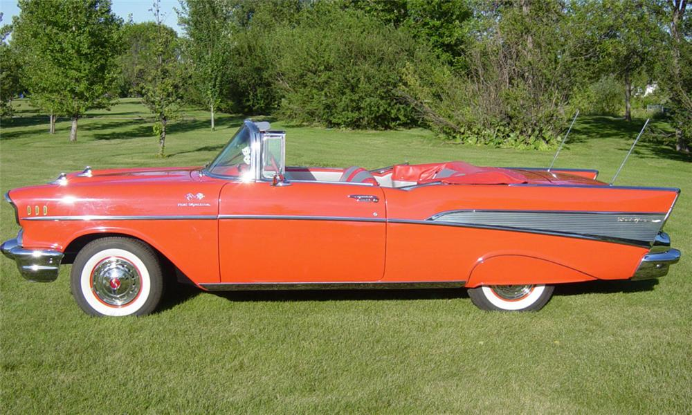1957 CHEVROLET BEL AIR FUEL INJECTED CONVERTIBLE - Side Profile - 15966
