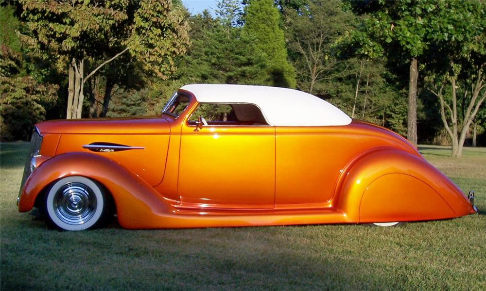 1936 FORD CUSTOM CONVERTIBLE STREET ROD - Side Profile - 15968