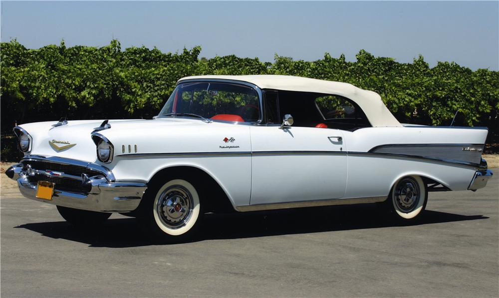 1957 CHEVROLET BEL AIR CONVERTIBLE - Side Profile - 161042