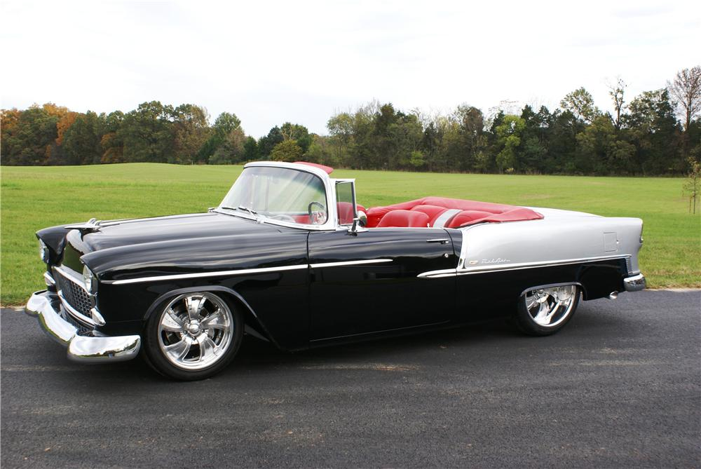 1955 CHEVROLET BEL AIR CUSTOM CONVERTIBLE - Front 3/4 - 161130