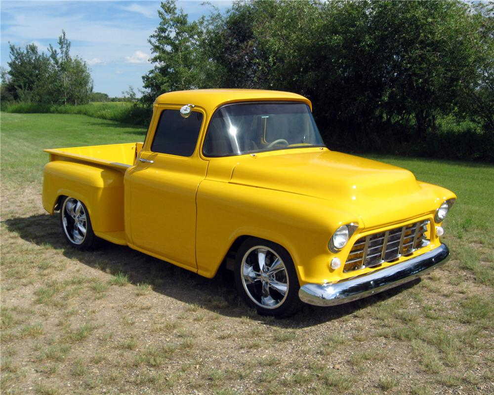 1955 CHEVROLET 3100 CUSTOM PICKUP - Front 3/4 - 161236