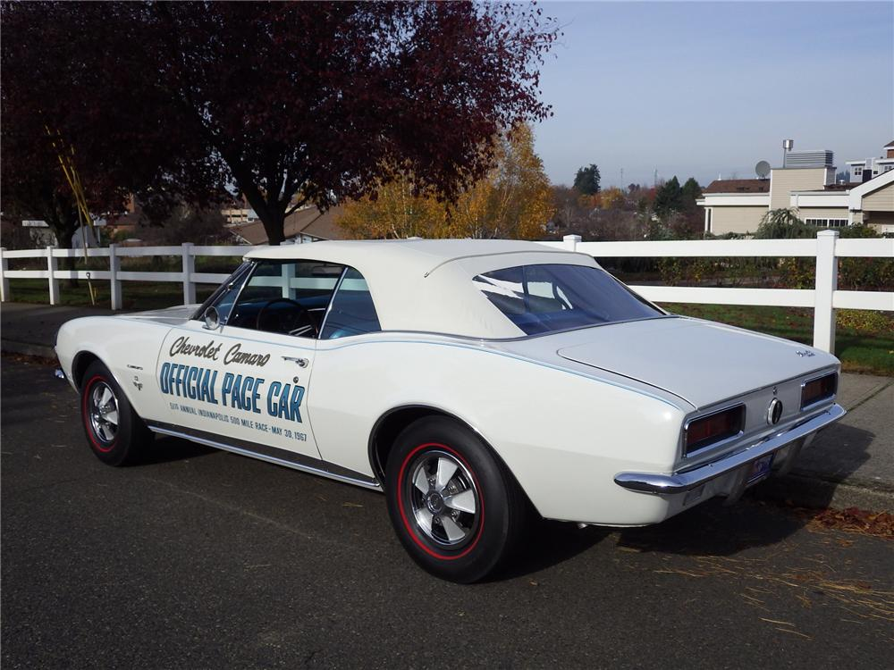 1967 CHEVROLET CAMARO RS INDY PACE CAR CONVERTIBLE - Rear 3/4 - 161480