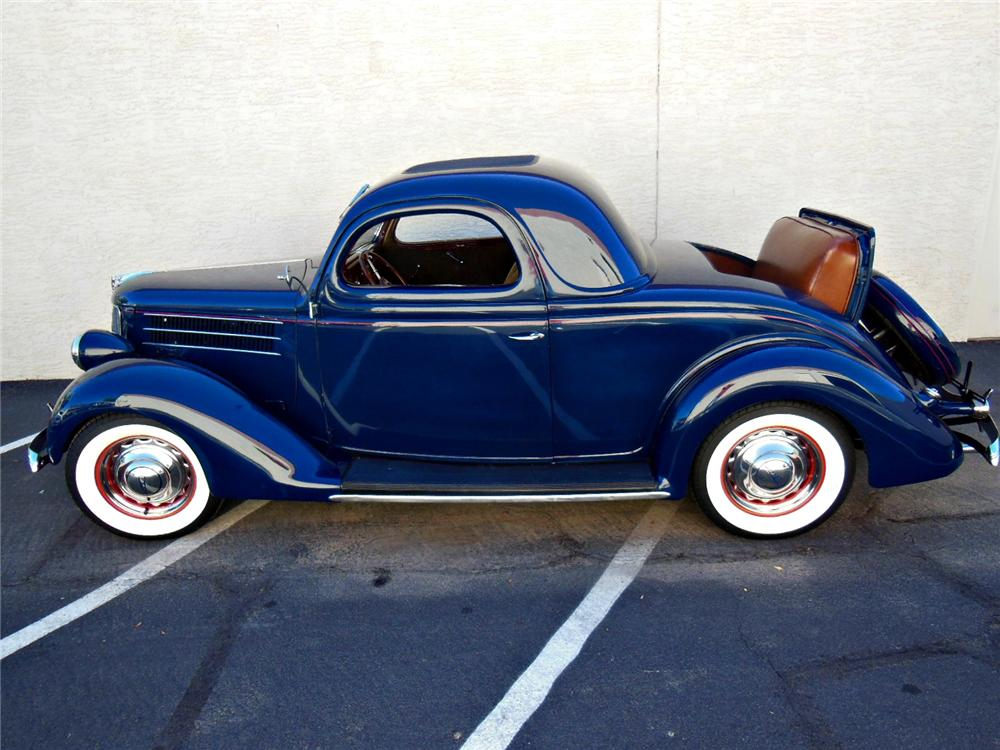 1936 FORD DELUXE 3 WINDOW COUPE - Side Profile - 161786