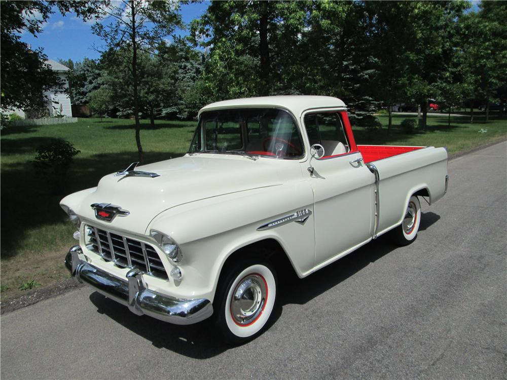 1955 CHEVROLET CAMEO PICKUP - Front 3/4 - 161841