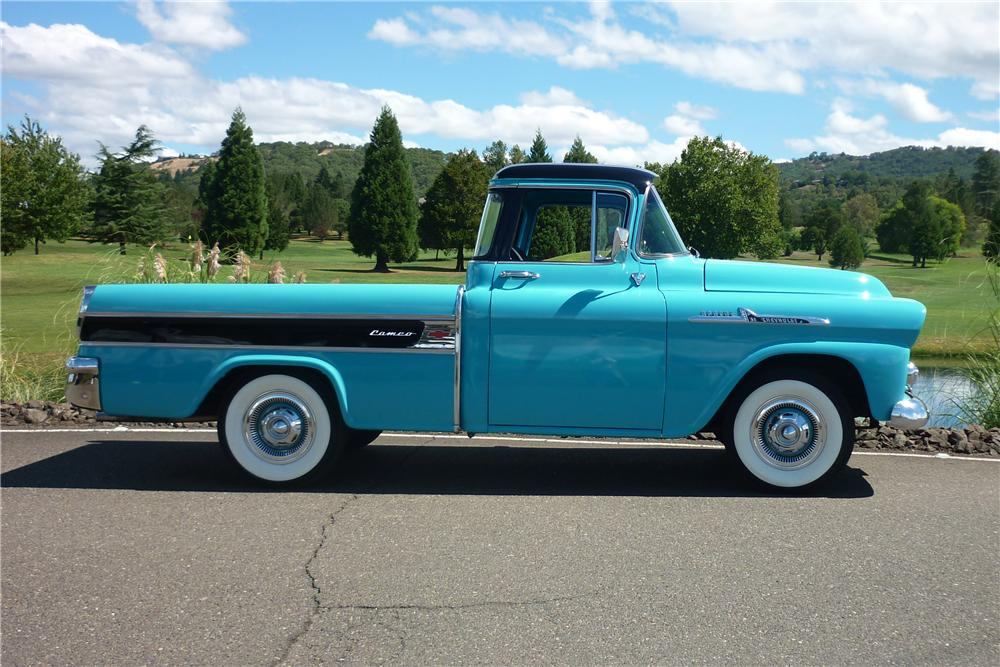 1958 CHEVROLET CAMEO CUSTOM PICKUP - Side Profile - 162010