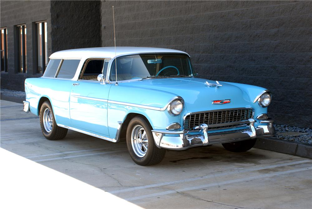 1955 CHEVROLET NOMAD CUSTOM STATION WAGON - Front 3/4 - 162051