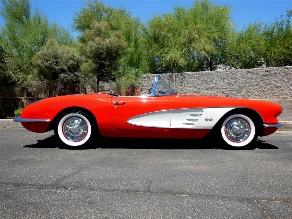 1958 CHEVROLET CORVETTE CONVERTIBLE - Side Profile - 162196