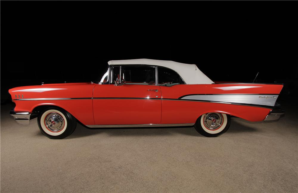 1957 CHEVROLET BEL AIR CONVERTIBLE - Side Profile - 162314