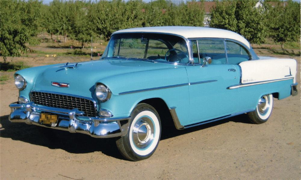 1955 CHEVROLET BEL AIR 2 DOOR HARDTOP - Front 3/4 - 16331