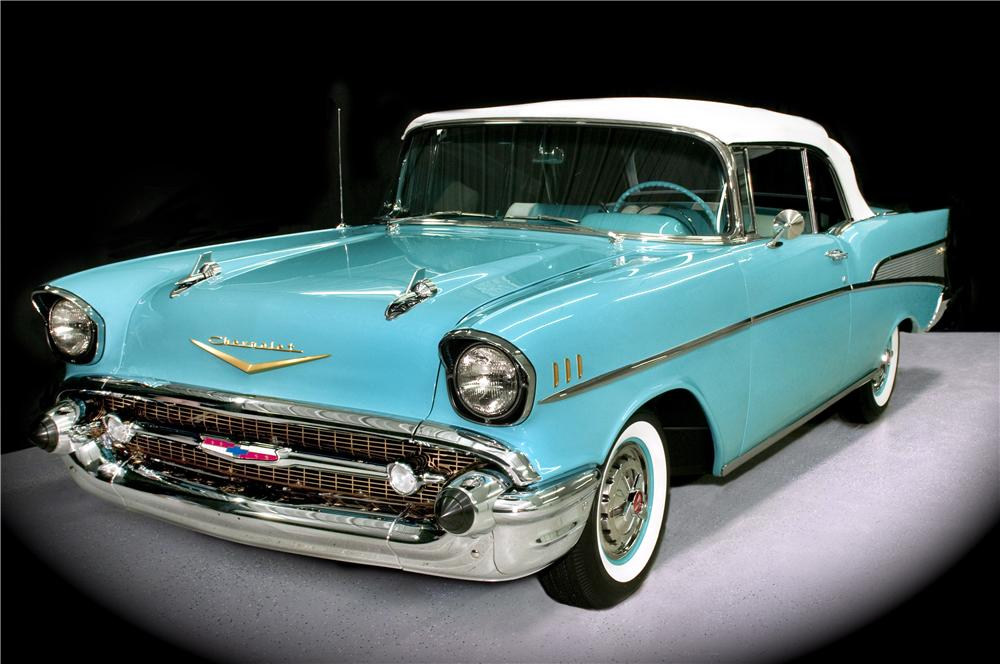 1957 CHEVROLET BEL AIR CONVERTIBLE - Front 3/4 - 170018