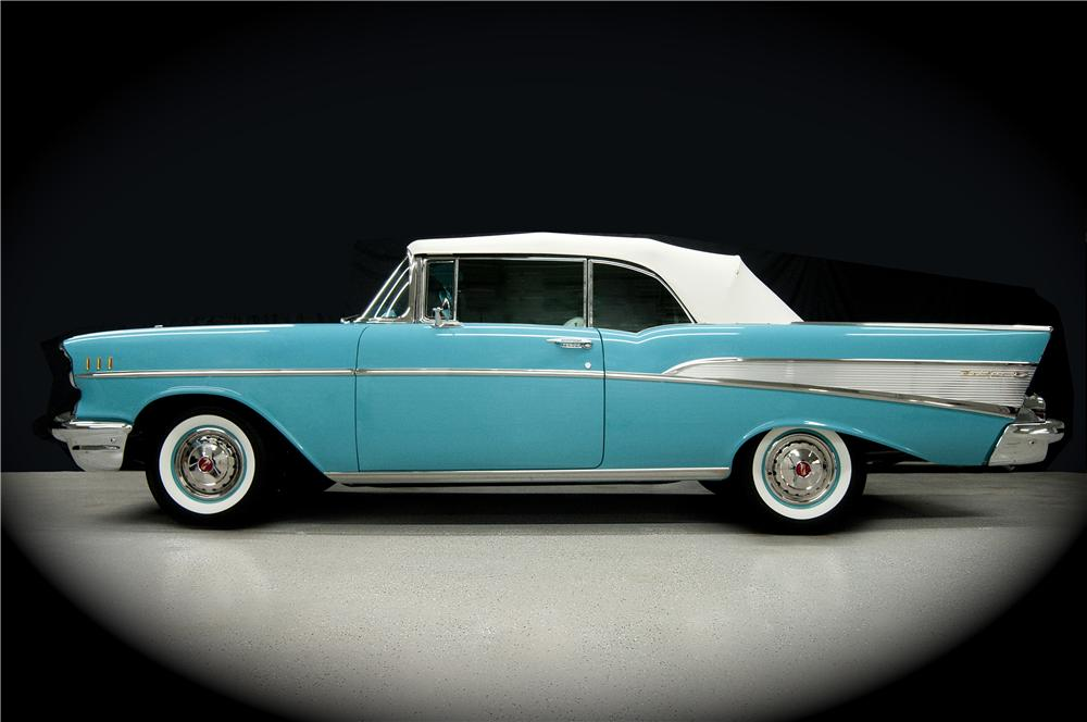 1957 CHEVROLET BEL AIR CONVERTIBLE - Side Profile - 170018