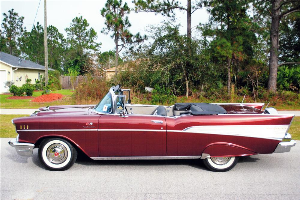 1957 CHEVROLET BEL AIR CUSTOM CONVERTIBLE - Side Profile - 170040