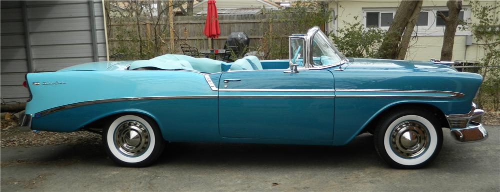 1956 CHEVROLET BEL AIR CONVERTIBLE - Side Profile - 170043