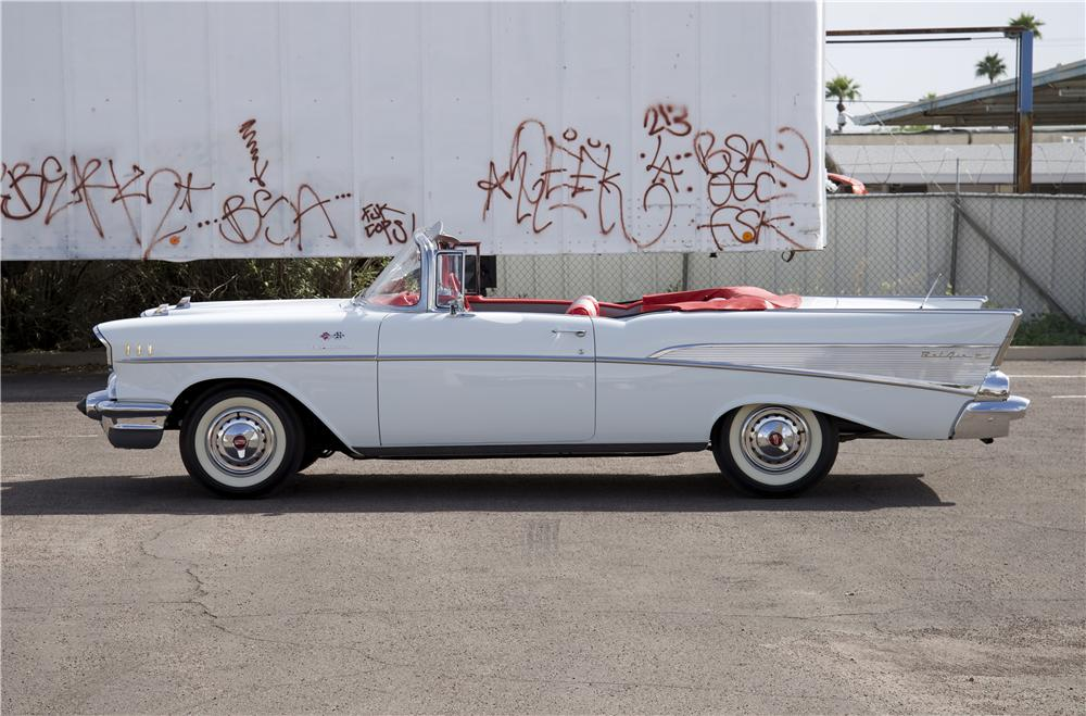 1957 CHEVROLET BEL AIR CONVERTIBLE - Side Profile - 170068