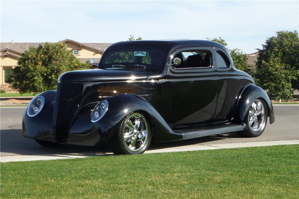 1936 FORD 5 WINDOW CUSTOM 2 DOOR COUPE - Front 3/4 - 170095
