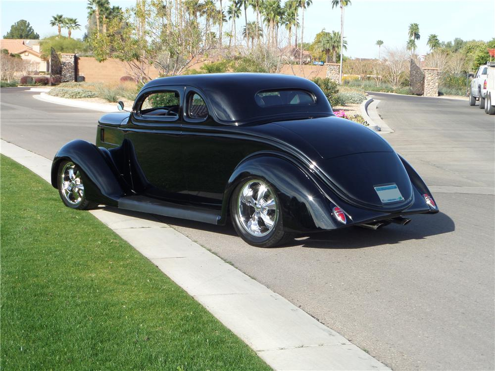 1936 FORD 5 WINDOW CUSTOM 2 DOOR COUPE - Rear 3/4 - 170095