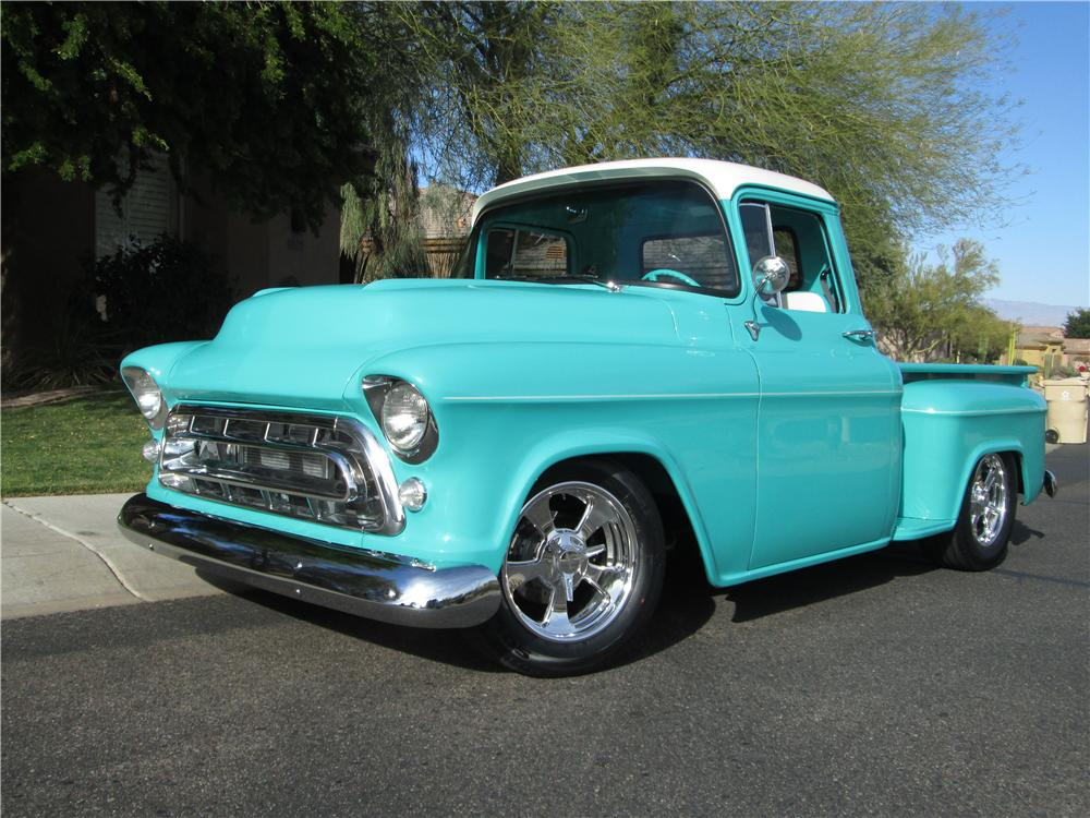 1957 CHEVROLET 3100 CUSTOM PICKUP - Front 3/4 - 170389