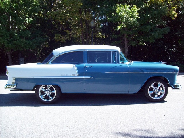 1955 CHEVROLET BEL AIR CUSTOM 2 DOOR POST - Front 3/4 - 170458