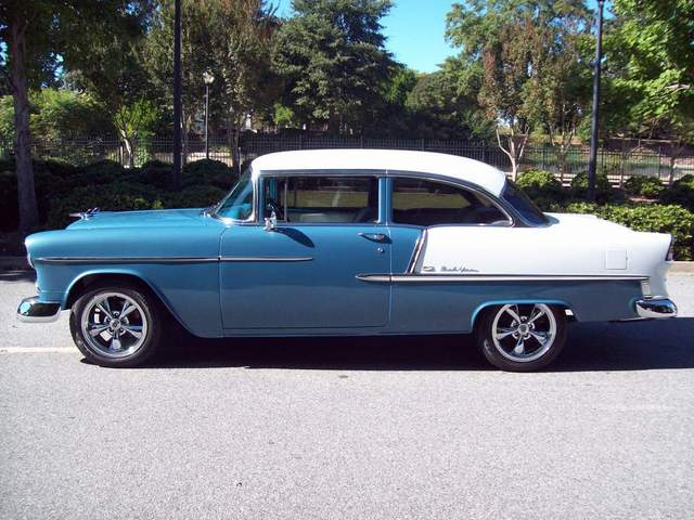 1955 CHEVROLET BEL AIR CUSTOM 2 DOOR POST - Side Profile - 170458