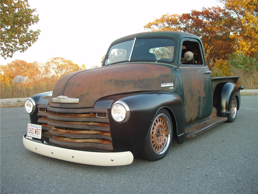 1950 chevrolet 3100 custom pickup front 3 4 170486