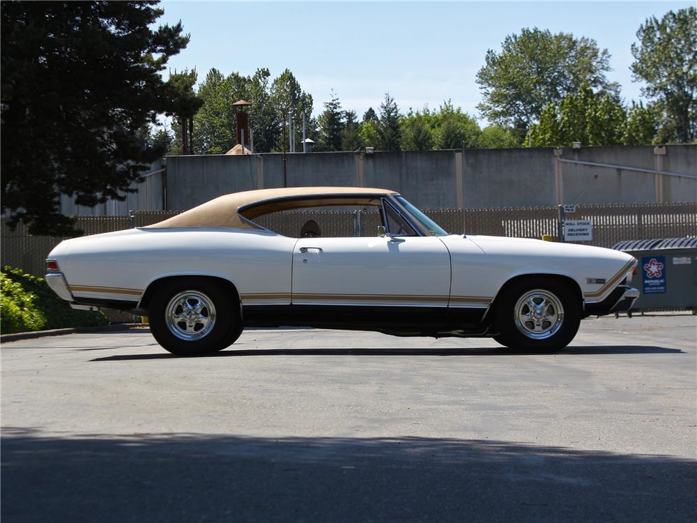 1968 CHEVROLET CHEVELLE CUSTOM 2 DOOR HARDTOP - Side Profile - 174715