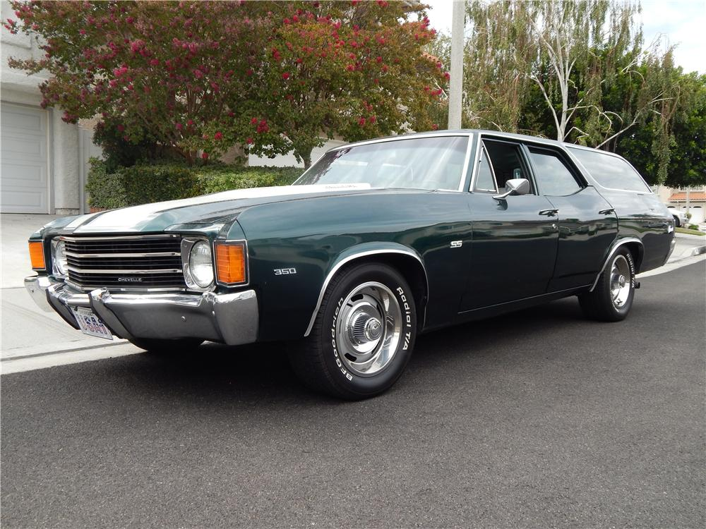 1972 CHEVROLET CHEVELLE CUSTOM STATION WAGON - Front 3/4 - 177017
