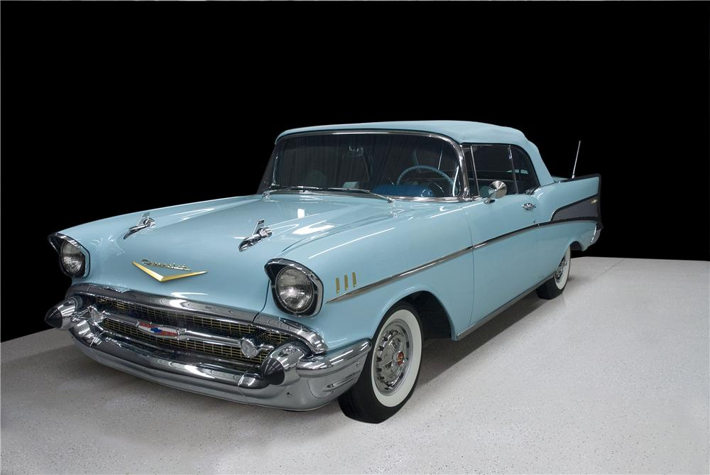 1957 CHEVROLET BEL AIR CONVERTIBLE - Front 3/4 - 177039
