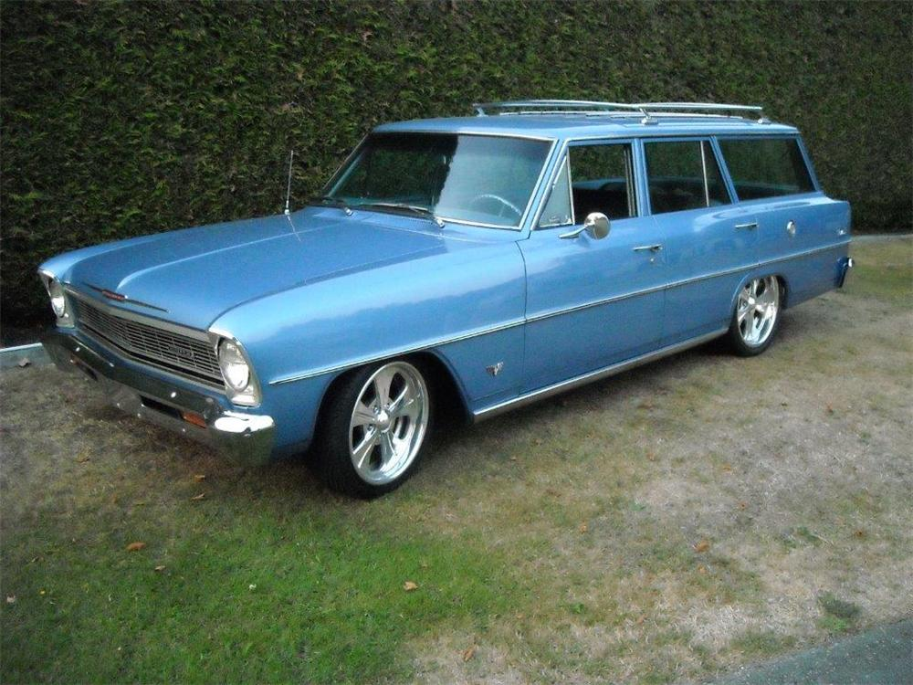 1966 CHEVROLET NOVA CUSTOM 4 DOOR STATION WAGON - Front 3/4 - 177382