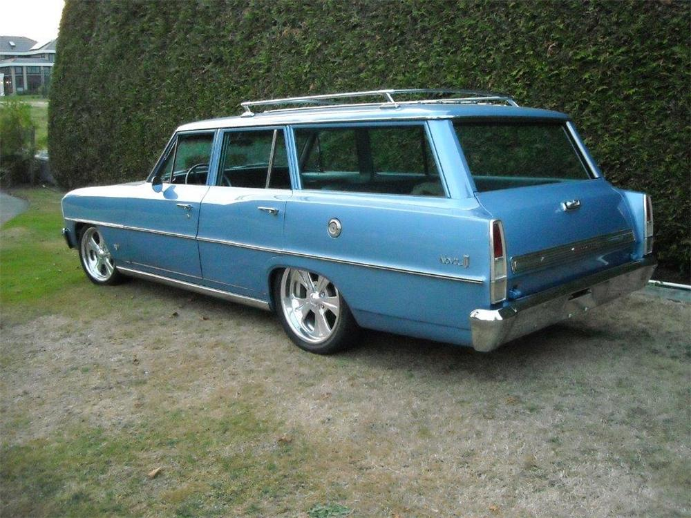 1966 CHEVROLET NOVA CUSTOM 4 DOOR STATION WAGON - Rear 3/4 - 177382