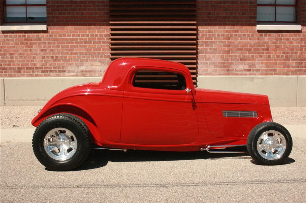 1933 FORD 3 WINDOW CUSTOM 2 DOOR COUPE - Side Profile - 177453