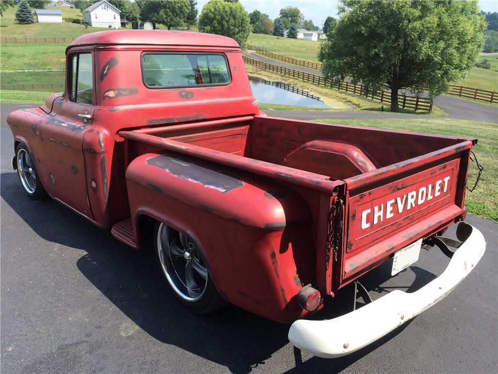 1955 CHEVROLET 3100 CUSTOM PICKUP - Rear 3/4 - 177540